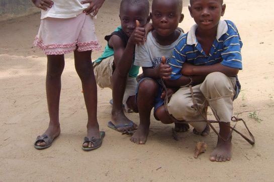 Children in front of Damiefa School