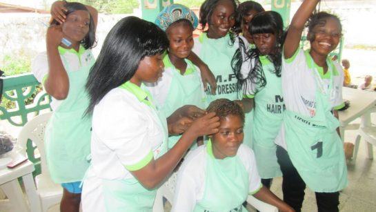 Hairdressing class in session at Mineke Foundation